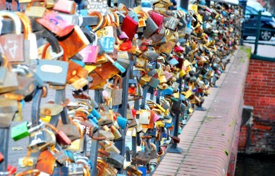 love locks. love lock bridge, Gdansk