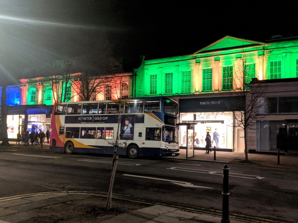 Some of Cheltenham's shops lit up