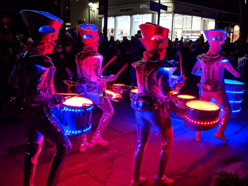 Spark! Drummers at Light Up Cheltenham in Gloucestershire