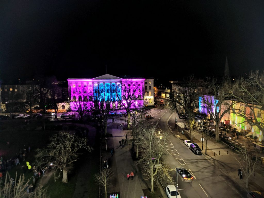 A birds eye view of Cheltenham from the observation wheel at Light Up Cheltenham